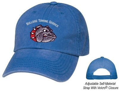 Royal Blue 6 Panel Soft Washed Hat Embroidered Image