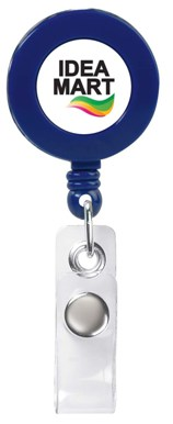 Custom Retractable Badge Holder Solid Blue Colors Image