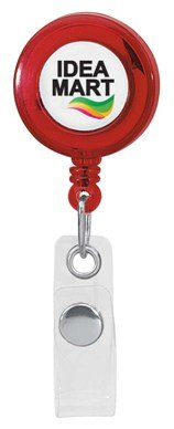 Custom Retractable Badge Holder Trans Red Colors Image