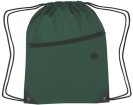 Zippered Drawstring Backpack Forest Green Color Image
