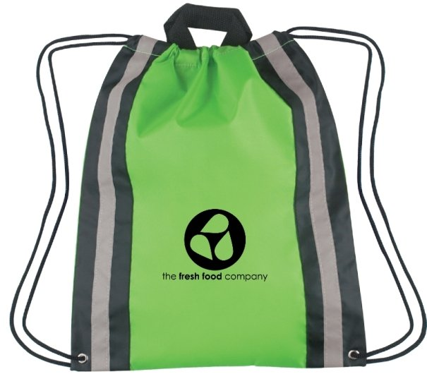 Printed Large Reflective Drawstring Backpack Lime Green Color Image