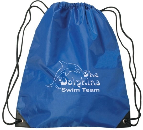 Printed Large Drawstring Backpack Royal Blue Color Image