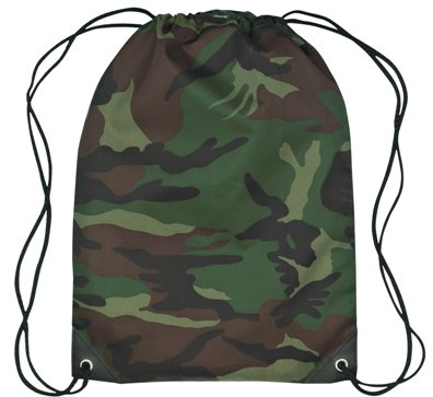 Medium Drawstring Backpack Green Camo Color Image