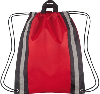 Large Reflective Drawstring Backpack Red Color Image