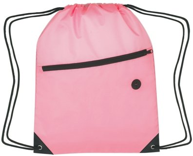 Zippered Drawstring Backpack Pink Color Image