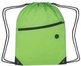Zippered Drawstring Backpack Lime Green Color Image