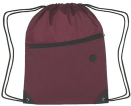 Zippered Drawstring Backpack Maroon Color Image