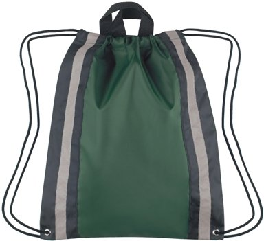 Large Reflective Drawstring Backpack Forest Green Color Image