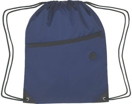 Zippered Drawstring Backpack Navy Blue Color Image