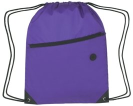 Zippered Drawstring Backpack Purple Color Image