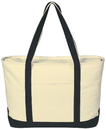 Canvas Boat Tote Bag Black Color Image