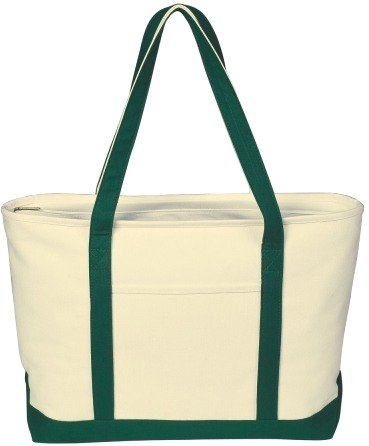 Canvas Boat Tote Bag Forest Green Color Image