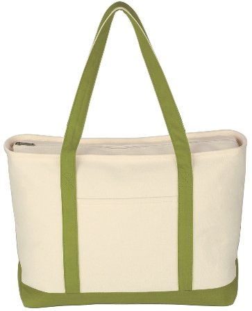 Canvas Boat Tote Bag Lime Color Image