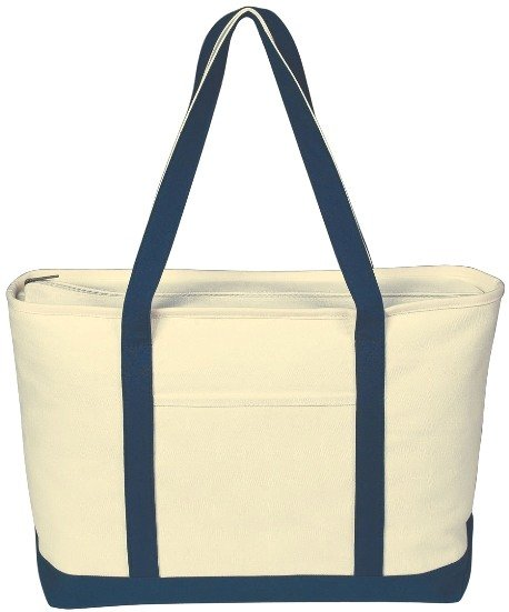 Canvas Boat Tote Bag Navy Color Image