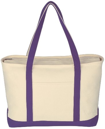Canvas Boat Tote Bag Purple Color Image