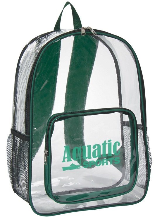 Clear Security Printed Backpack Green Trim Color Image