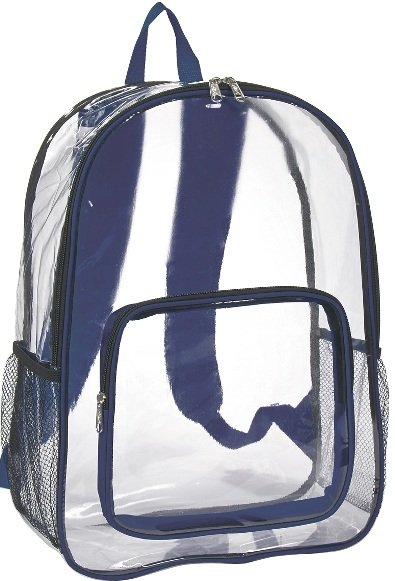 Clear Promotional Backpack Navy Trim Color Image