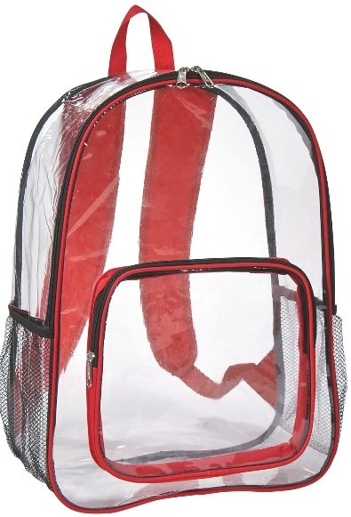 Clear Promotional Backpack Red Trim Color Image