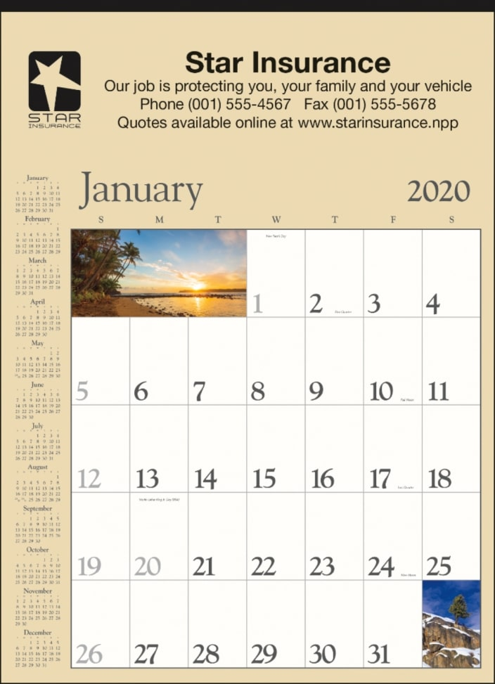 12 Sheet Scenic Promotional Wall Calendar