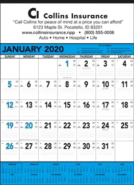 13 Sheet Classic Promotional Wall Calendar Blue Colors