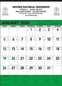 13 Sheet Classic Promotional Wall Calendar Green Colors