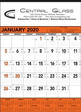 13 Sheet Classic Promotional Wall Calendar Orange Colors