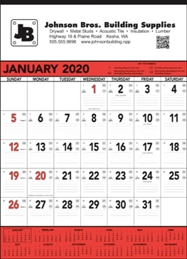 13 Sheet Classic Promotional Wall Calendar Red Colors