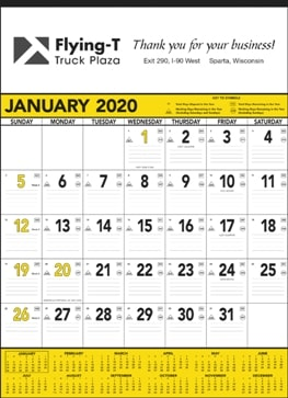 13 Sheet Classic Promotional Wall Calendar Yellow Colors