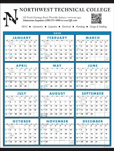 Year at a Glance Classic Promotional Wall Calendar Blue Color