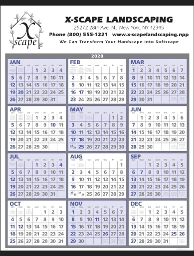 Year at a Glance Classic Promotional Wall Calendar Blue Gray Color