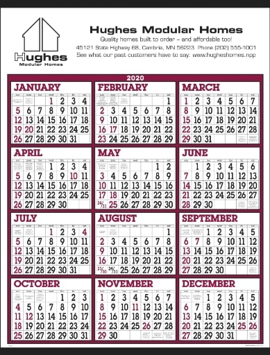 Year at a Glance Classic Promotional Wall Calendar Burgundy Color