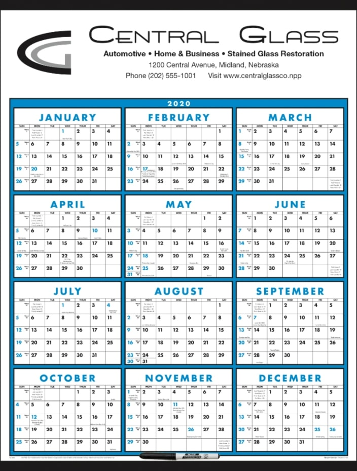 Wall Calendar-Laminated Blue Classic w/ Marker