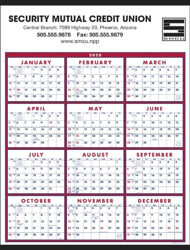 Year at a Glance Classic Promotional Wall Calendar Red Color