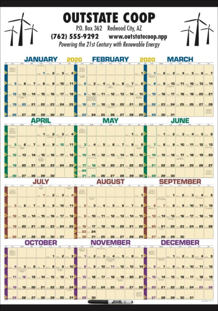 Year at a Glance Laminated Time Management Large Wall Calendar