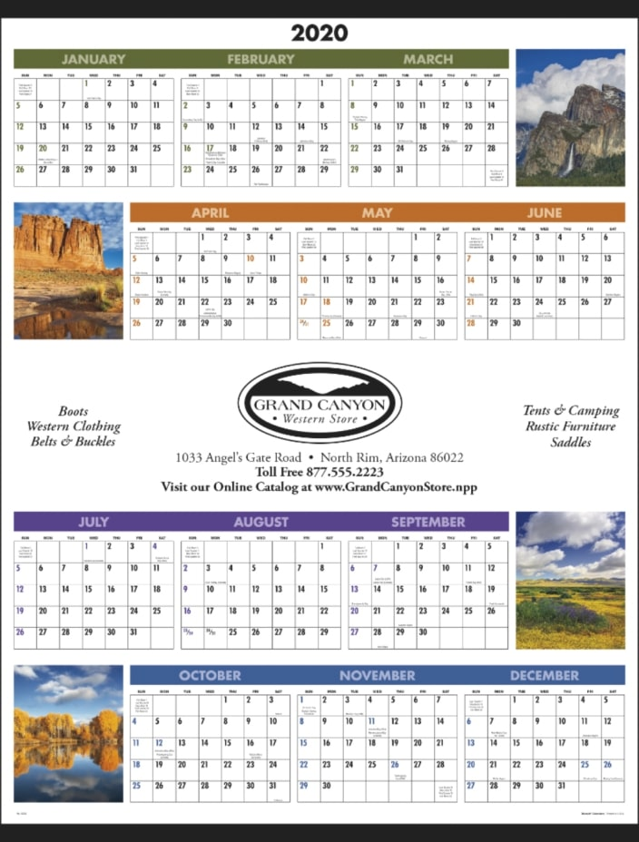 Wall Calendar-Year at a Glance Scenic