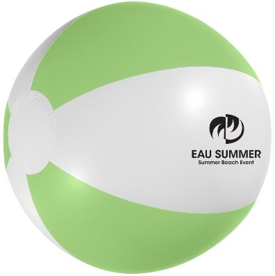 White and Green Custom Printed Beach Ball