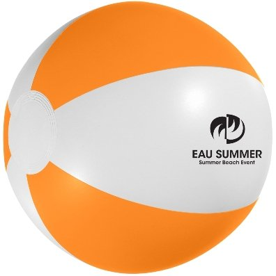 White and Orange Custom Printed Beach Ball