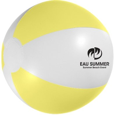 White and Yellow Custom Printed Beach Ball