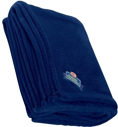 Navy Embroidered Chenille Blanket