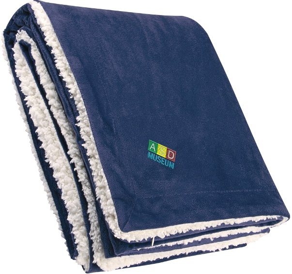 Navy Blue Embroidered Sherpa Blanket