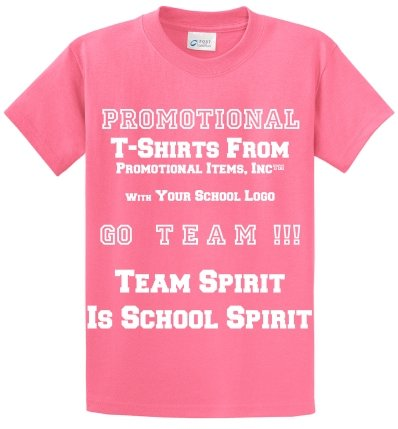 Imprinted School T Shirt Candy Pink Color Image