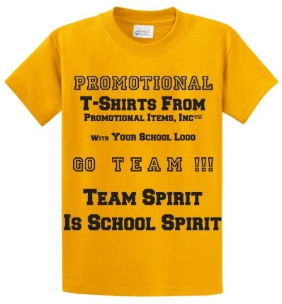Imprinted School T Shirt Gold Color Image