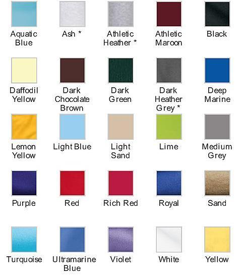 School T Shirt Color Chart One Image
