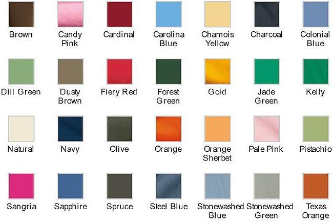 School T Shirt Color Chart Two Image