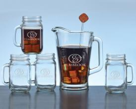 Etched Pitcher Mason Jar Mug Gift Set