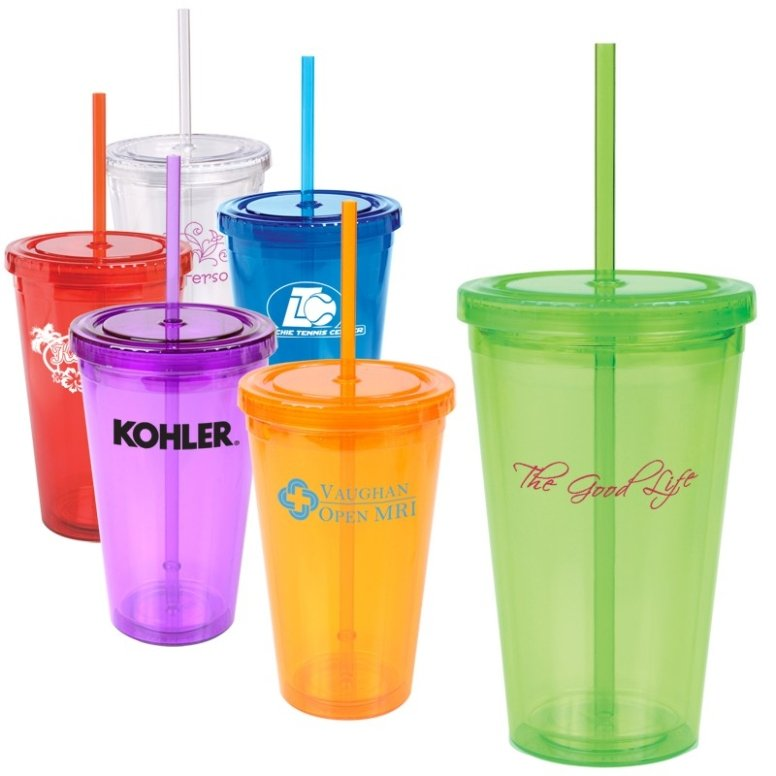 Colored Acylic Tumbler Lid - Straw