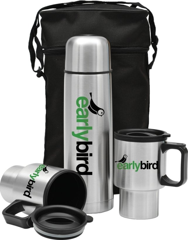 Stainless Steel-32 oz. Thermos, Mugs & Carry Bag Gift Set