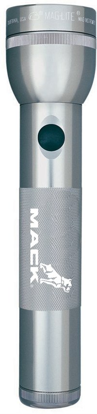 Silver - Gray Maglite 2 D LED Flashlight Engraved