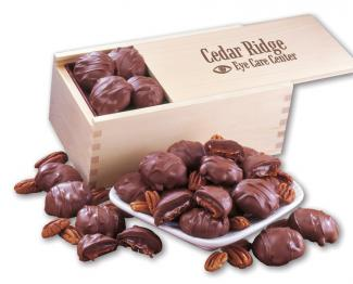 Business Gift Wood Box Pecan Turtles