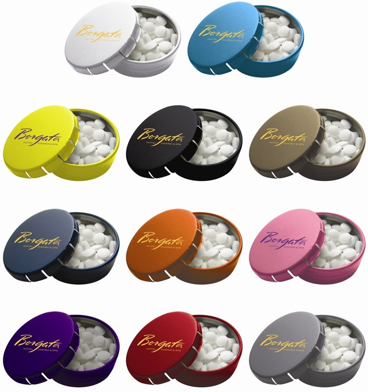 Promotional Round Click Clack Mint Tin Colors Image